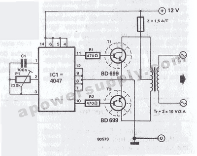 12vdc 220vac inverter using cmos cd4047 - schematic