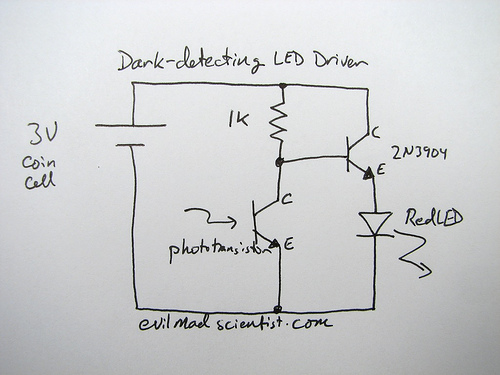 simple and cheap dark detecting led