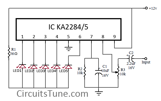 5 led vu meter circuit diagram using ka2284 under repository-circuits