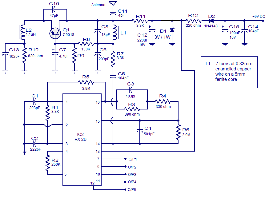 5 channel radio remote control - schematic
