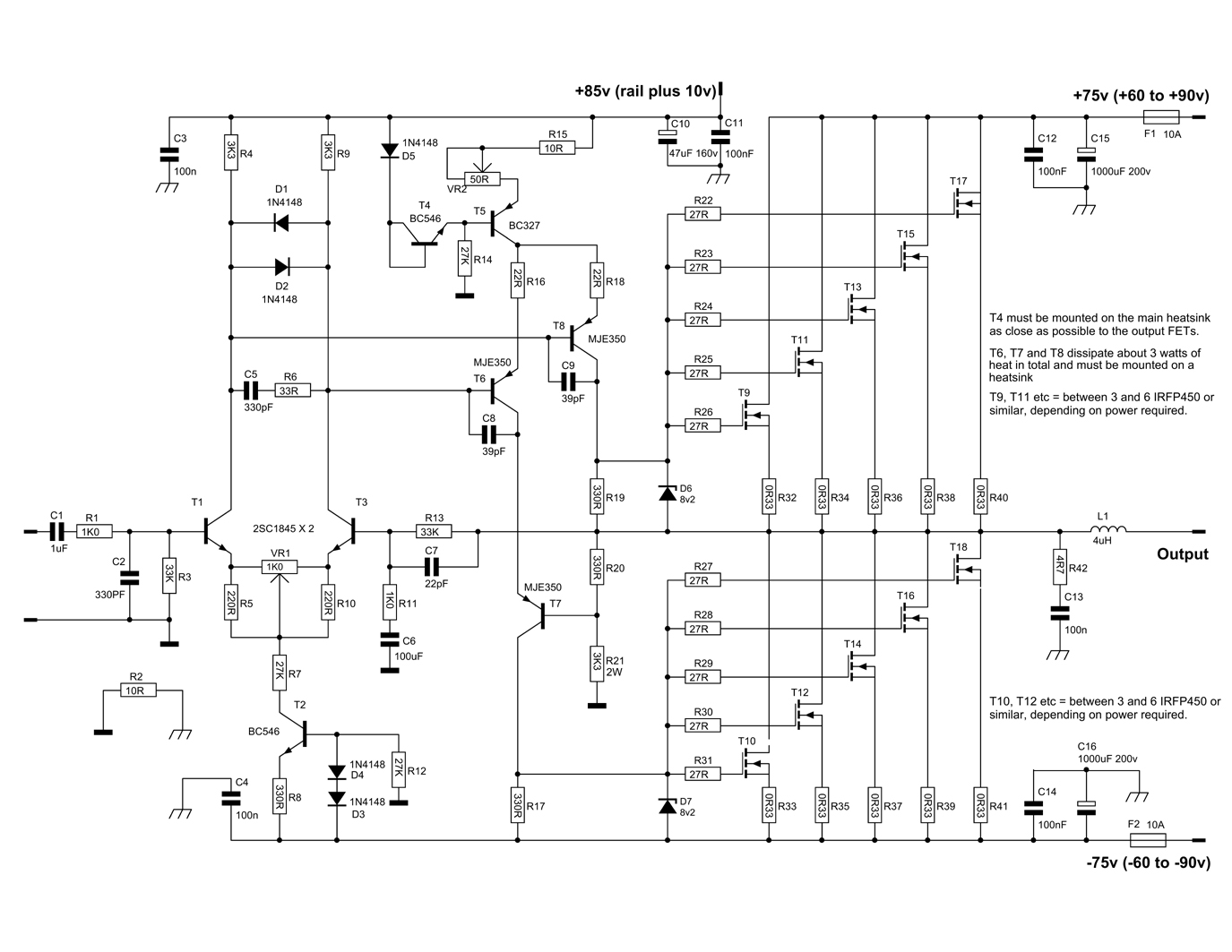 600 Watt Mosfet Power Amplifier With Pcb Schematic Diagram Under Repository-circuits