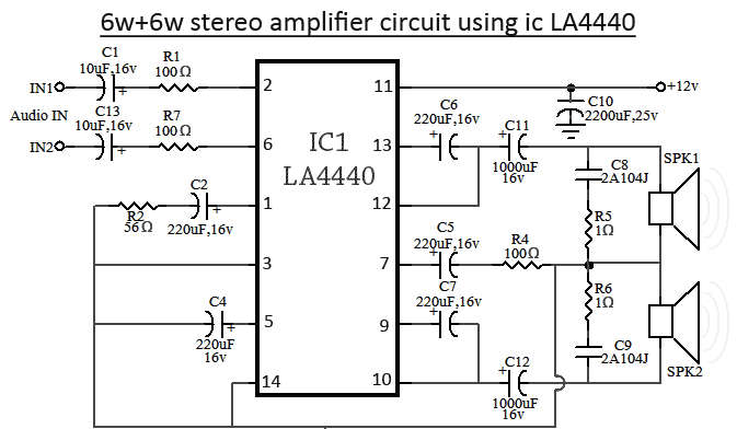 LA4440 Stereo Amplifier - schematic