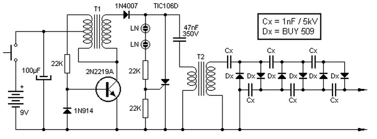 9V to 13.5kV Inverter Circuit Schematic Diagram - schematic