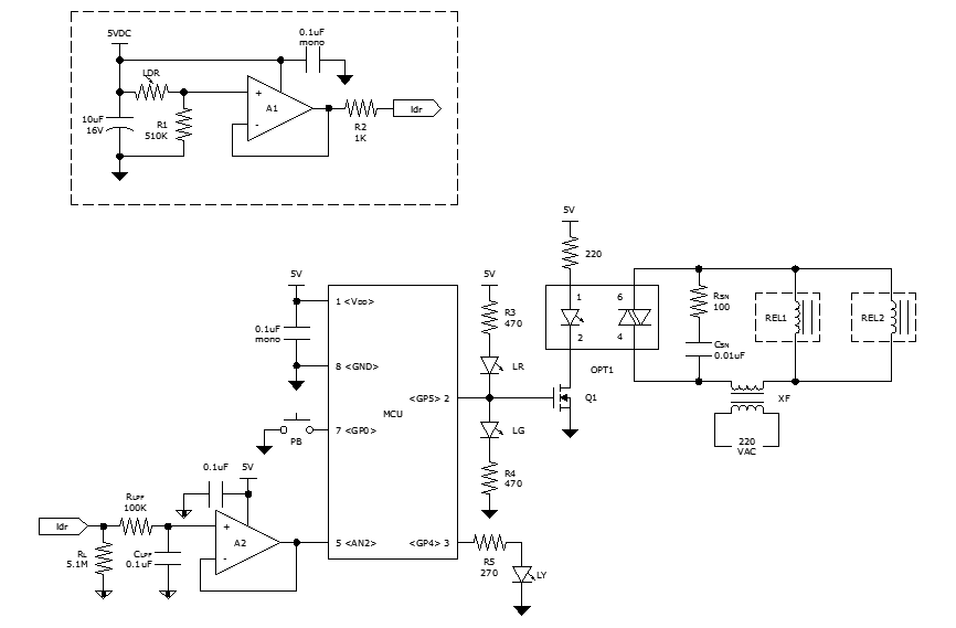 Microcontroller-based automatic night light circuit