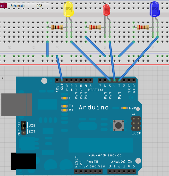 Arduino LED blinking with variable speed - schematic