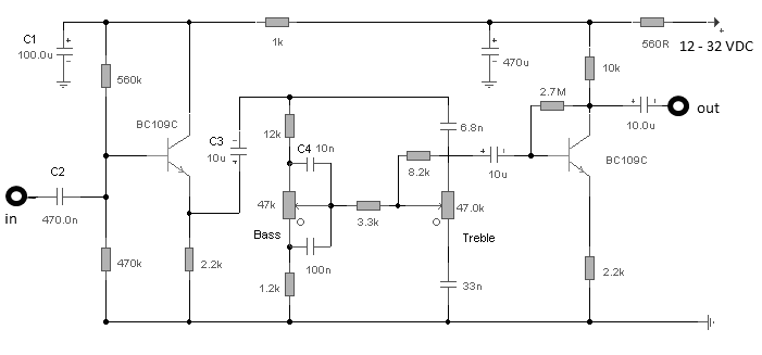 audio tone control with 2 transistor - schematic