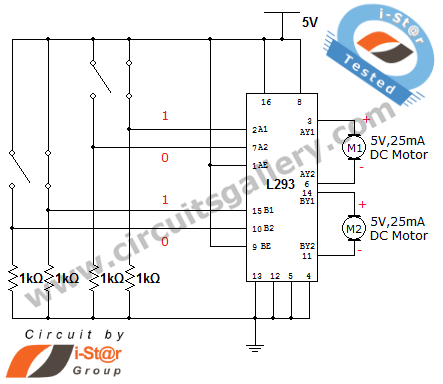 Bidirectional motor control (driver) circuit for Robotics beginners - schematic