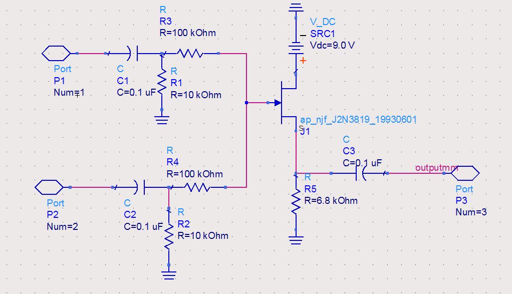 audio mixer in ads - schematic
