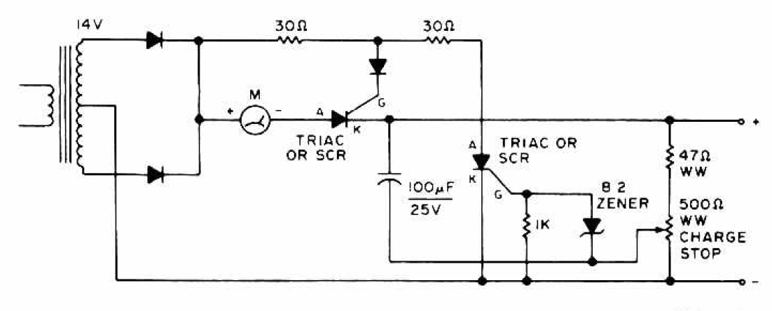 Charger circuit equipped with a regulator circuit output voltage Schematic Diagram - schematic