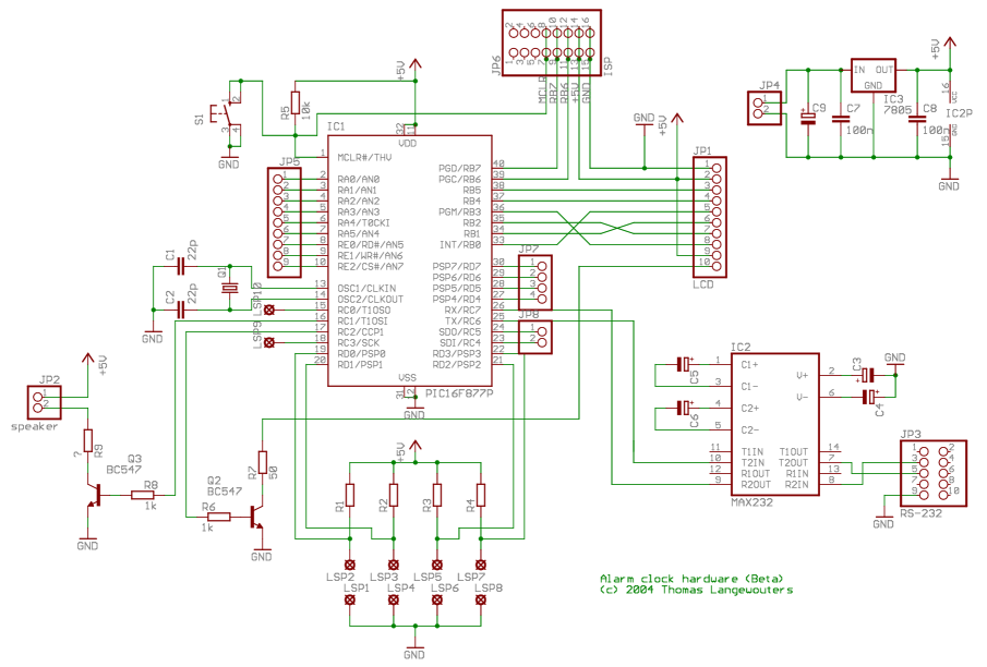 digital alarm clock using pic - schematic