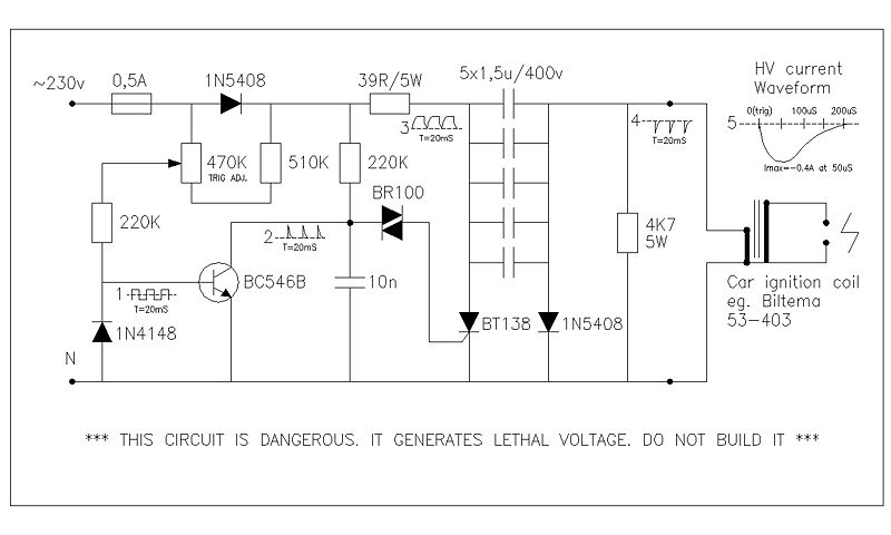 High Voltage Pulse Generator Electronic Circuit - schematic