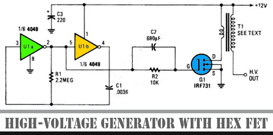circuits > circuit high voltage generator with hex fet schematic, wiring diagram