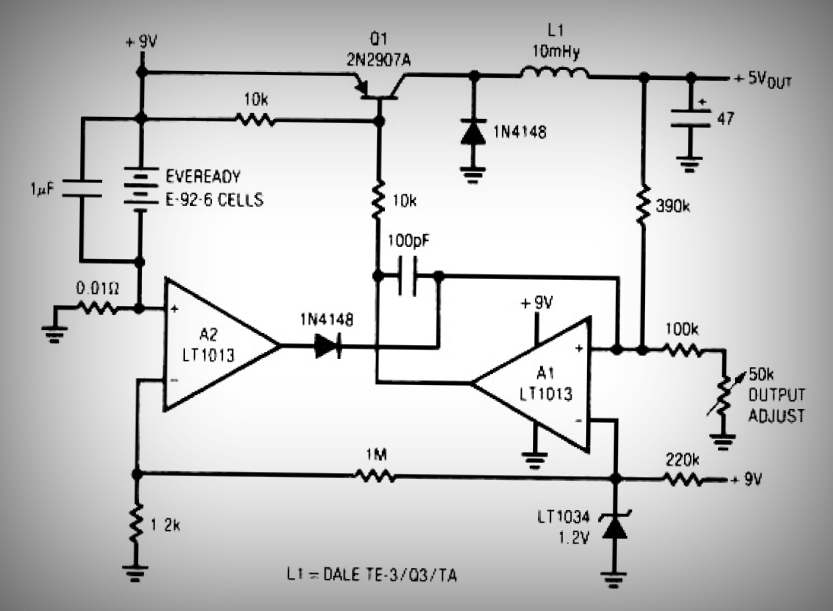 low power switching regulator - schematic