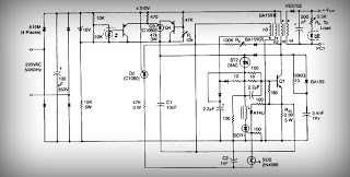 High current output switching power supply Schematic Diagram