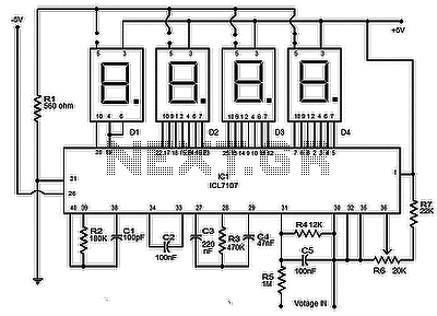 Digital voltmeter using icl7107 circuit - schematic
