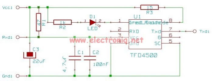 tfds4500 infrared adapter serial - schematic