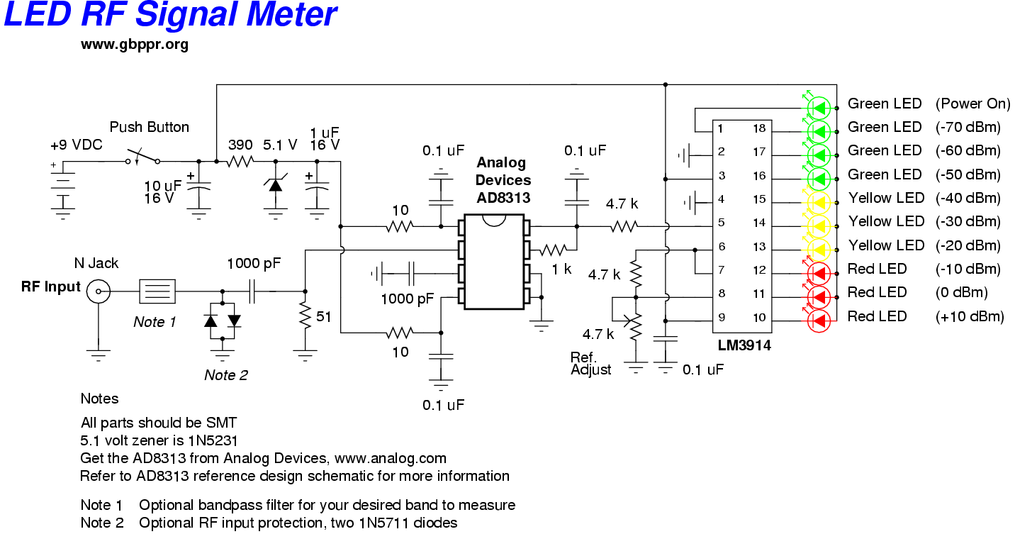 led rf signal meter - schematic