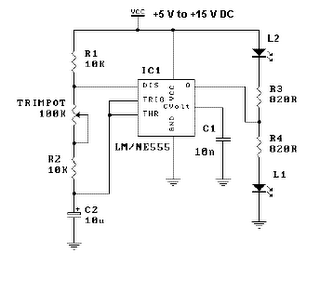 LED Flasher Circuit Using 555 Timer IC Schematic Diagram