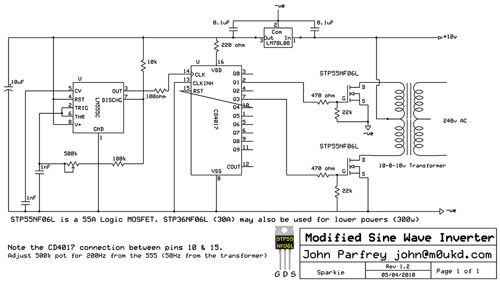 testing troubleshooting inverter - schematic