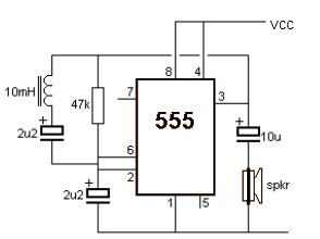 Metal Detector using 555 Timer Suite - schematic