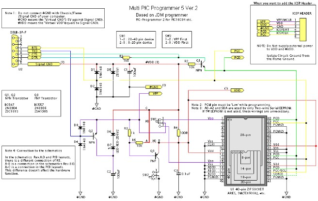 Downloader PIC Microcontroller (PIC Multi Programmer) Schematic