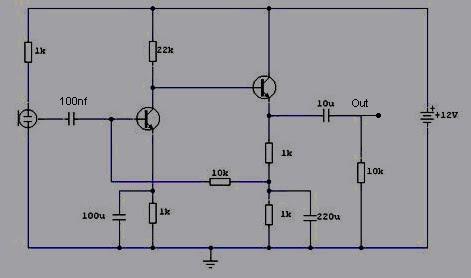 pre amp condenser microphone circuit - schematic