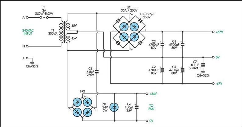 200W MOSFET Power Amplifier Schematic Diagram - schematic