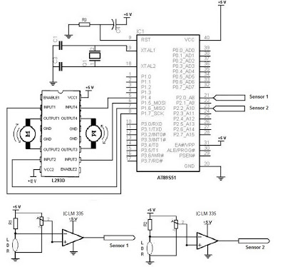 Electronic Schematic Diagram of Light Detector Robot using Light Dependent Resistor (LDR) - schematic
