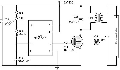 12vdc fluorescent lamp driver schematic - schematic
