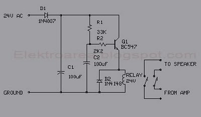 simple delay speaker circuit schematic - schematic