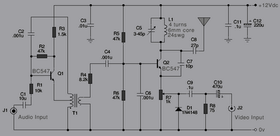 tv transmitter and pal video modulation - schematic