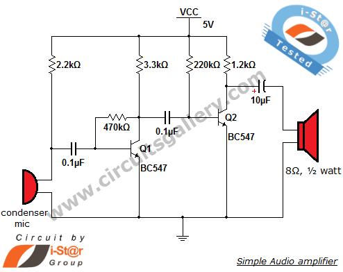 Simple condenser microphone mini audio amplifier circuit schematic - schematic