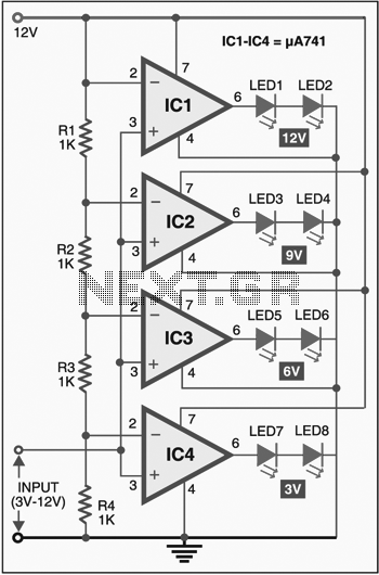 Led voltmeter circuit - schematic