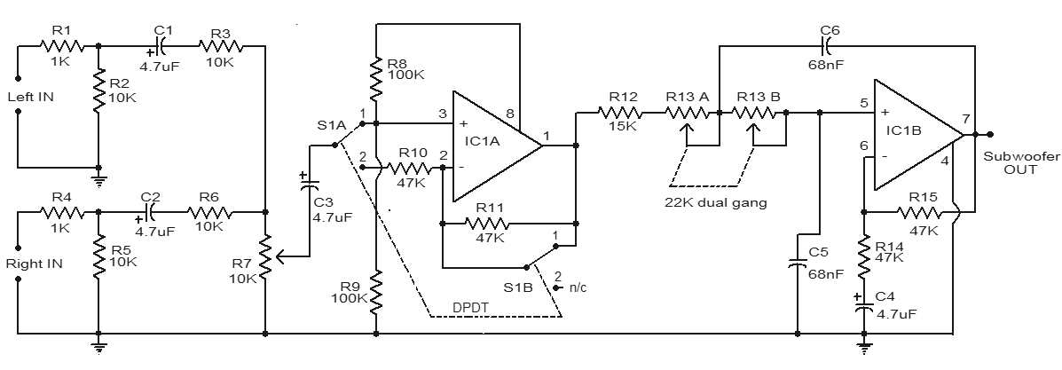 Subwoofer Filter Circuit Using Op-Amp TL072