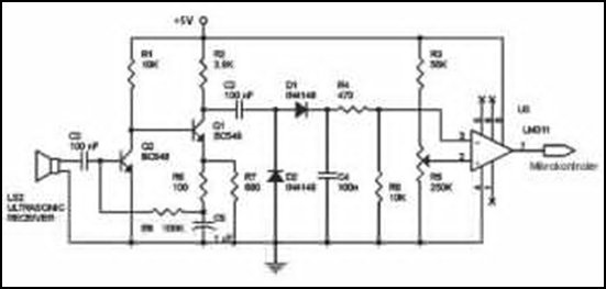 Ultrasonic Wave Receiver Circuit Schematic Diagram - schematic