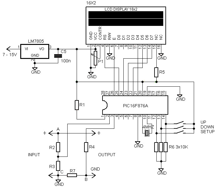16 G— 2 LCD Volt Meter & Ampere Meter With PIC Schematic Diagram - schematic