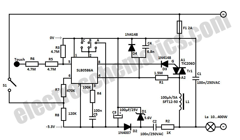 Tuch Sensitive Light Dimmer Circuit - schematic