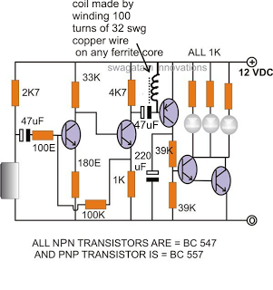Simple Clap Operated Stairway Light Switch Circuit - schematic