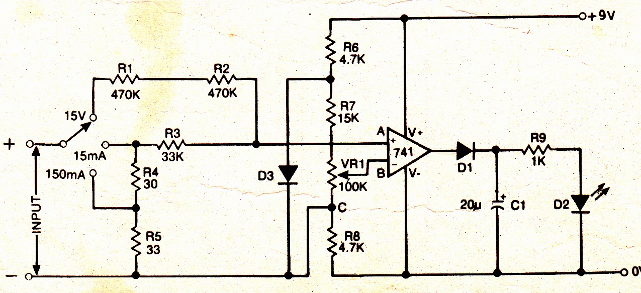 Electronic Voltmeter Ammeter Circuit Using Single IC 741 - schematic