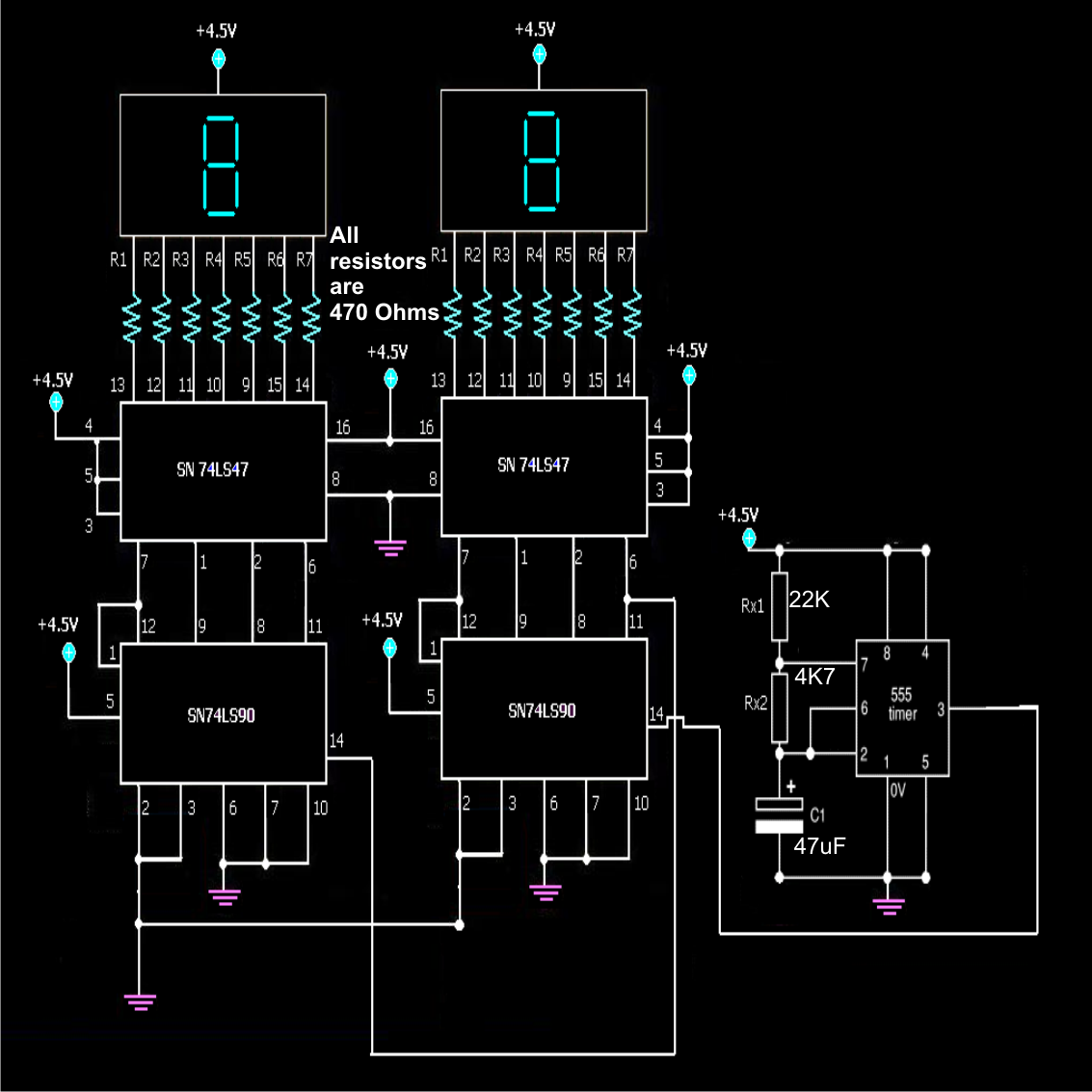 how to make simple frequency counter - schematic