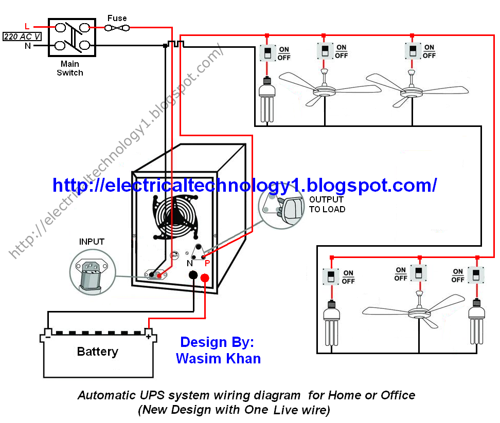 automatic ups system wiring circuit diagram for home or. Black Bedroom Furniture Sets. Home Design Ideas