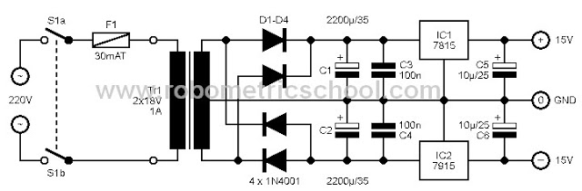 Symmetric Power Supply +15V 0 -15V Electronic Schematic Circuit - schematic