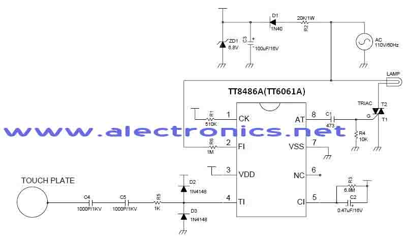 TT6061A and TT8486A sensitive touch light dimmer circuit with explanation