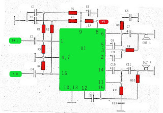 stereo stk013 audio amplifier circuit - schematic