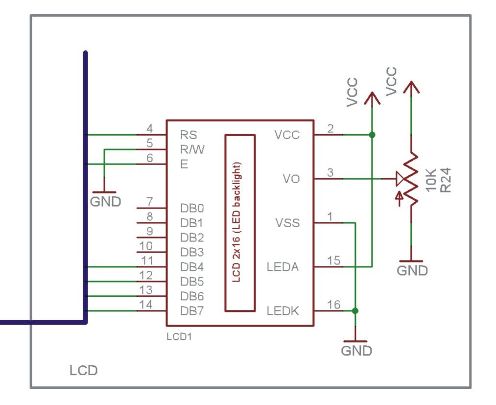 interfacing lcd - schematic