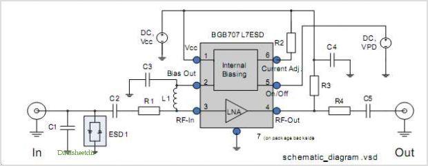 Bgb707l7esd As An Fm Radio Antenna Lna - schematic