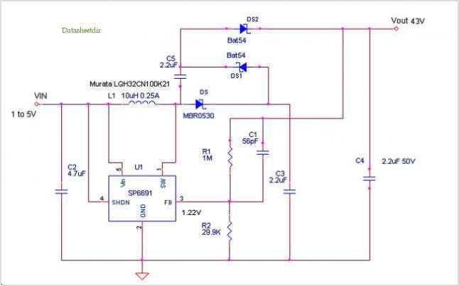 High Voltage Boost Regulator With Voltage Doubler - schematic