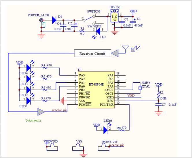 Ht48f06e Hopping Decoder - schematic
