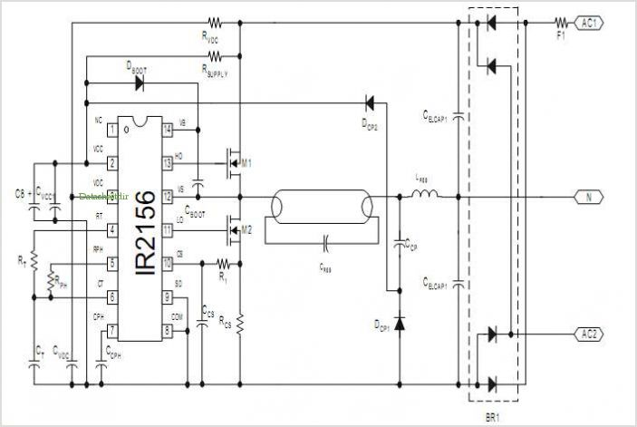 Irplcfl2 42 Watt Compact Fluorescent Ballast Reference Design - schematic