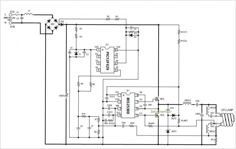 4 Level Switch Dim Fluorescent Ballast Using The Irs2530d - schematic